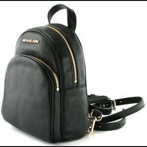Abbey Black Extra Mini Leather Backpack Crossbody